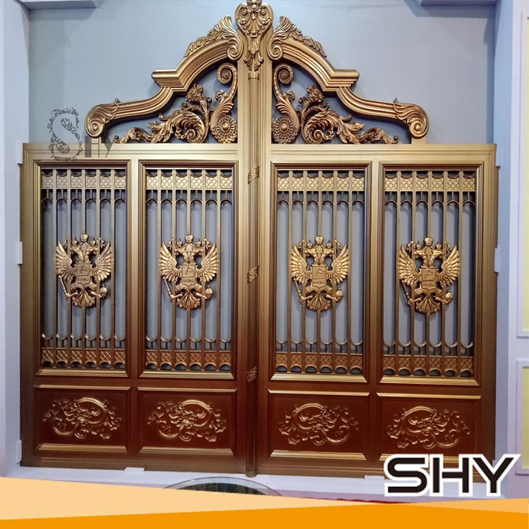 Cheap modern house decorative cast aluminum main gate for Modern main gate designs