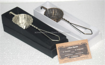 Antique brass tea strainer with Black and White Gift Box Packing