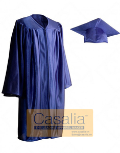 Wholesale Best quality Child Shiny Royal Blue Graduation Gowns and Caps For School