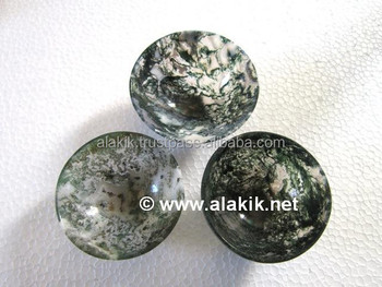 Moss Agate Bowls : Handmade Gemstone Bowls Size 70-75mm : Agate Bowls INDIA