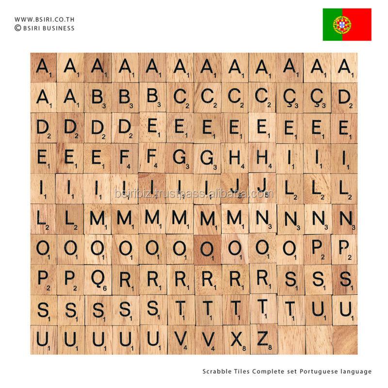 Wooden Letters Scrabble Tiles Complete Set Portuguese