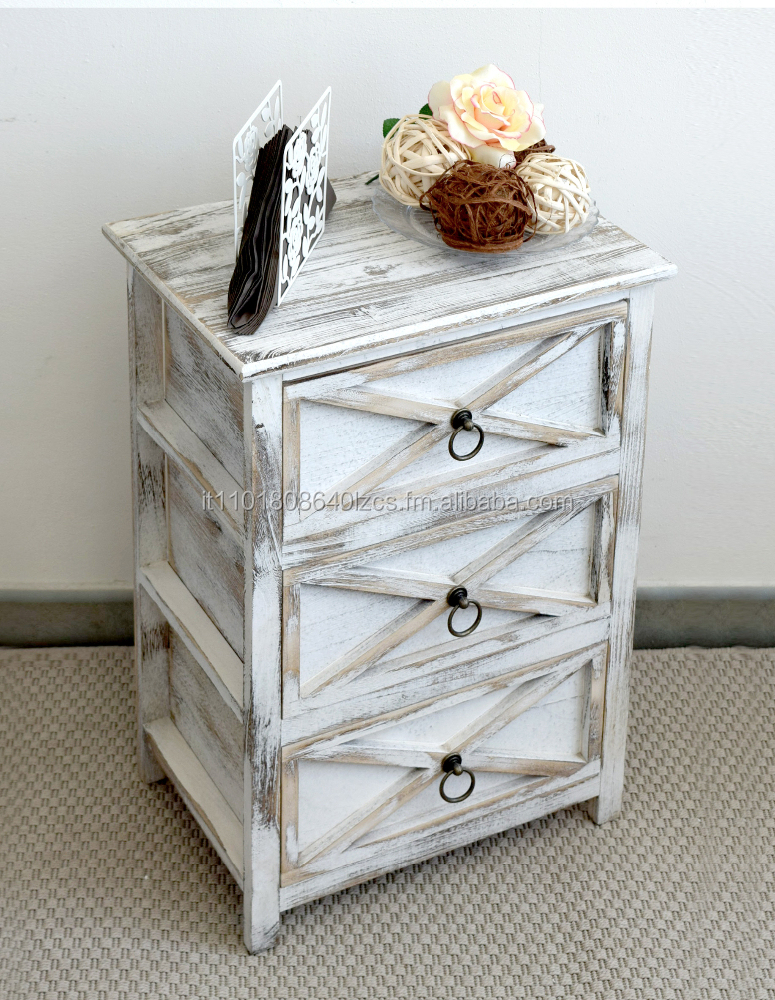 Shabby chic white cabinet with three drawers bathroom living room kitchen vintag