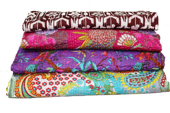 INDIAN KANTHA QUILT COMFORTER PRINTED QUILT COTTON QUILT BEST SELLING IN AUSTRALIA
