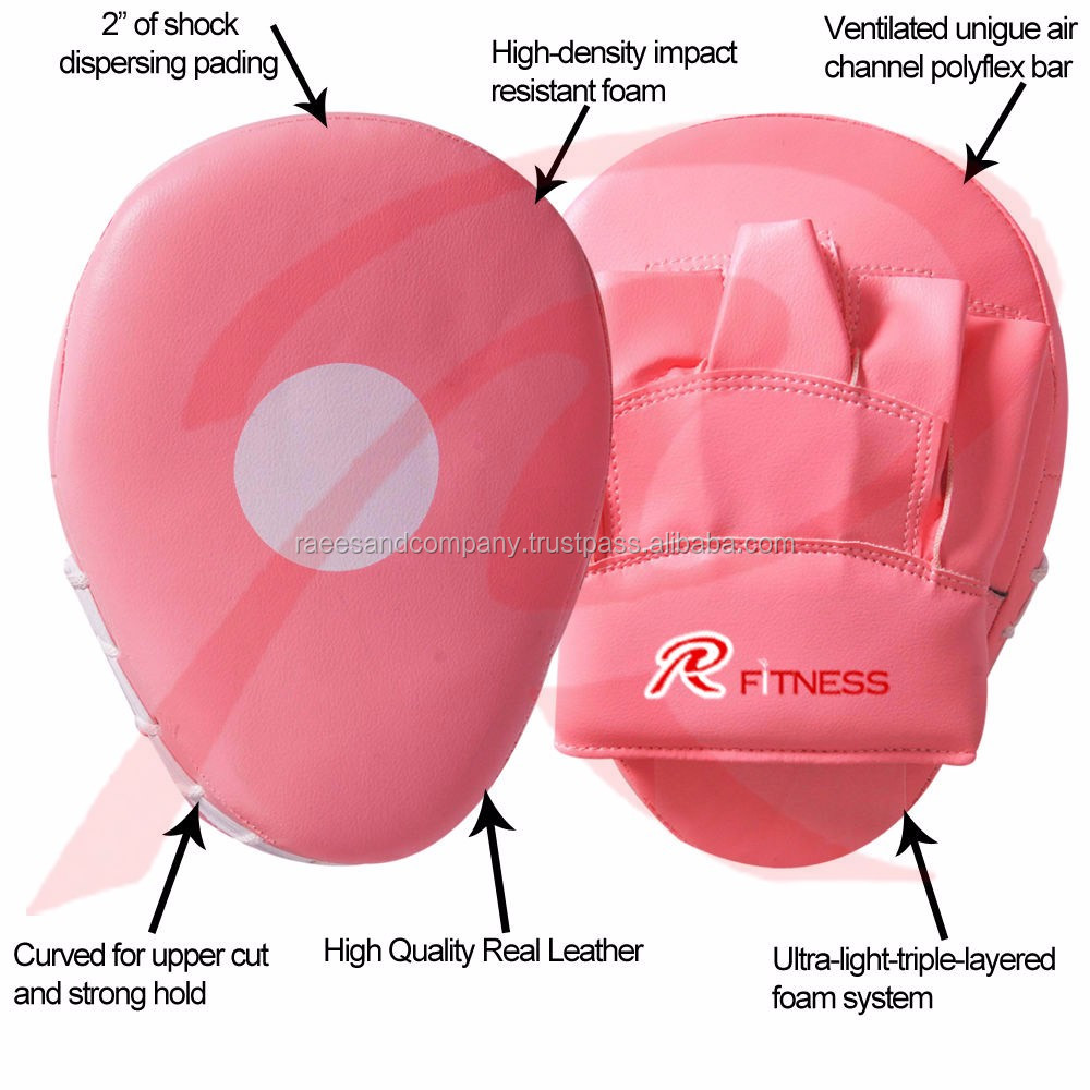 White with RedLeather Gel Curved Focus Mitts / Focus Pads /Kick Boxing MMA Strike Curved
