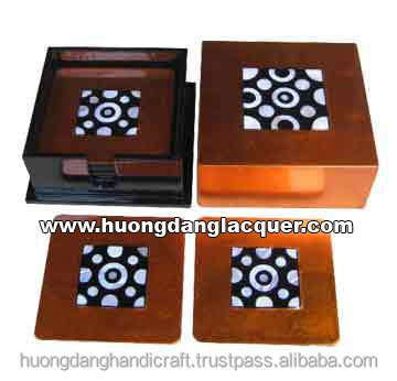 Lacquer square box with 6 coasters made in Vietnam