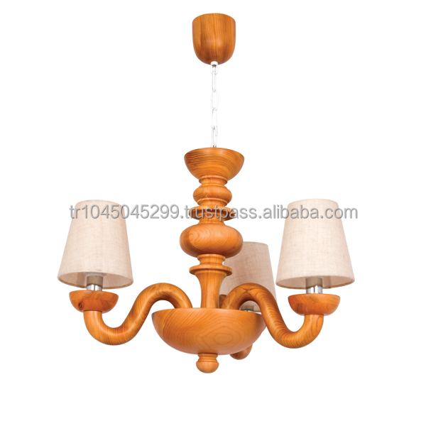 Handcrafted Wooden ChandelierGrandMultiple Arms And Shade – Wood Chandelier Lighting