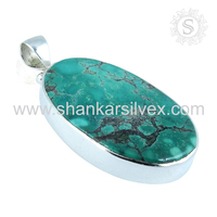 925 Sterling Silver Turquoise Pendant Beautiful Natural Big Stone Indian Silver Jewelry Supplier