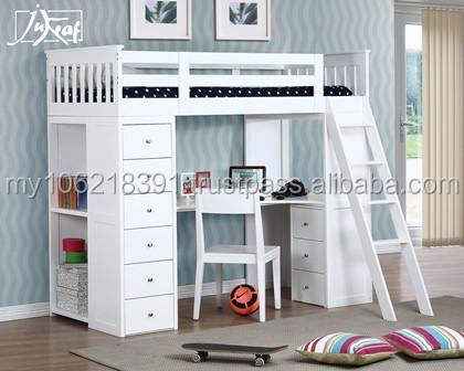 Buena calidad cama litera de madera en blanco cama litera - Literas lacadas en blanco ...