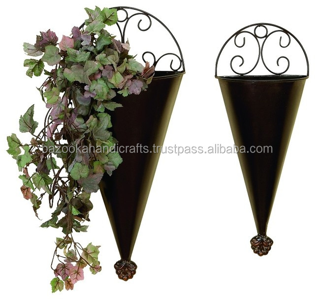 Rustic Metal Wall Planter Decorative Hanging Iron Wrought Planters Outdoor