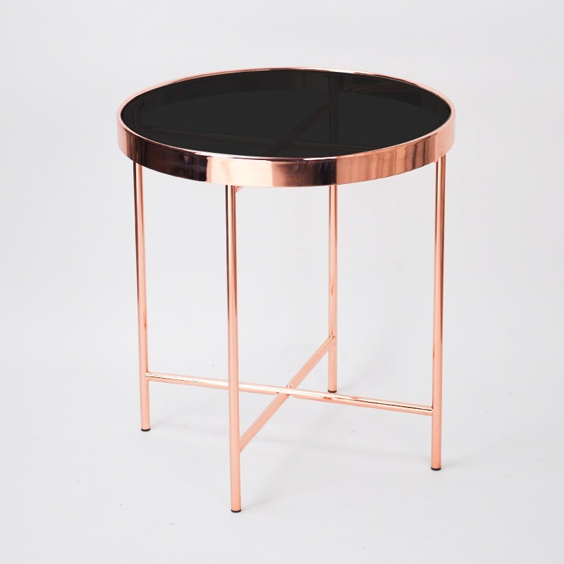 Round Rose Gold Frame Glass Coffee Table Modern