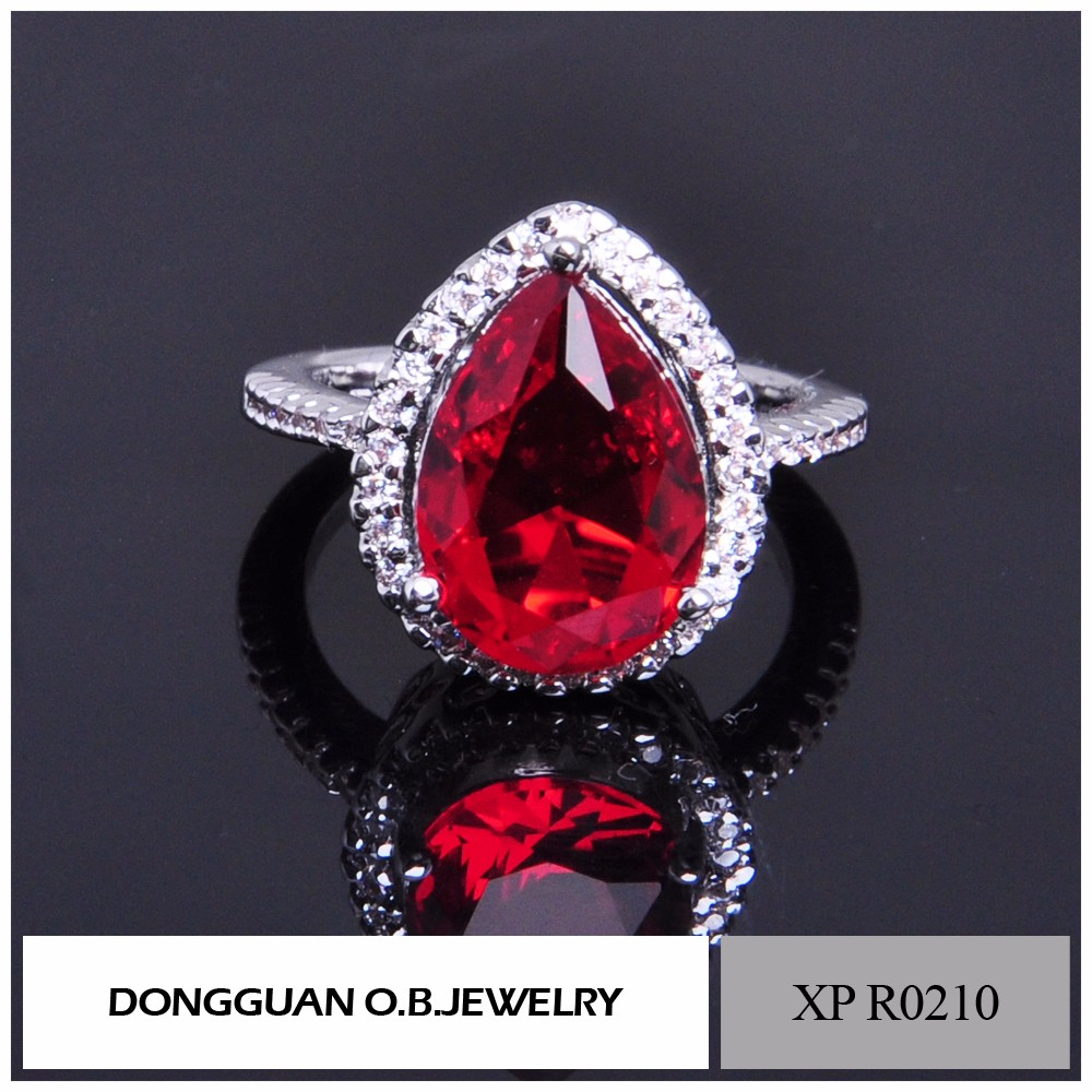Ruby Red Heart Shaped Zircon Women Wedding Engagement Jewelry Rings In Copper Wholesale
