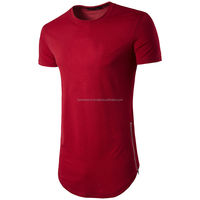 Red long line o-neck t-shirts