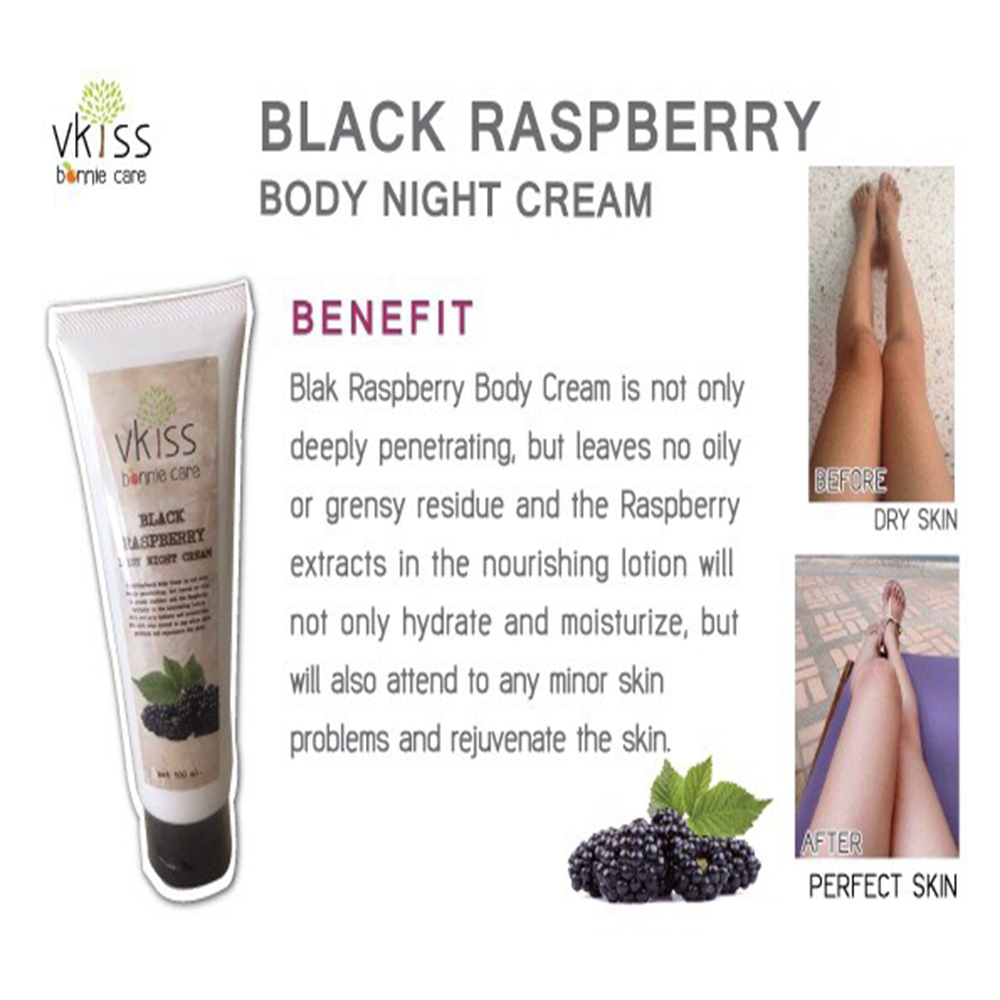 Black raspberry body night cream skin whitening body lotion eaves skin silky-soft body whitening lotion and refreshed