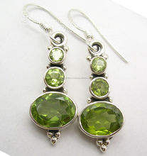 925 Sterling Zilver Groen PERIDOT Gemstone Dangle Oorbellen