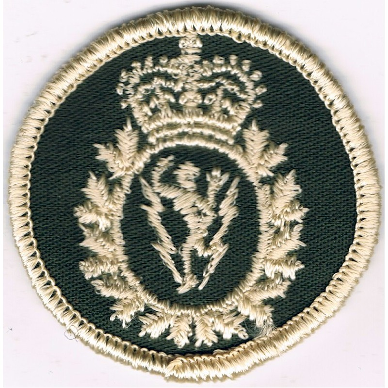 Embroidery badge Canadian Armed Forces Communications & Electronics Green Bush Hat Badge Queen's Crown. Embroidered Other Ranks'