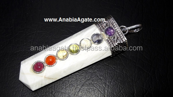 Scolecite Chakra Flat Stick Pendant : Wholesale Chakra Jewelry for sell