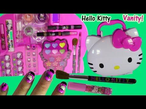 Hello Kitty Makeup Vanity Case Light Up Mirror Brushes Nails Lip Gloss  Body  Cheap Hello. Hello Kitty Vanity   Mirror With Stool