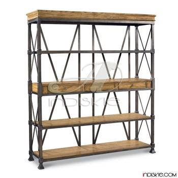Industrial Bookcase Shelves Bookshelf Vintage Shelving
