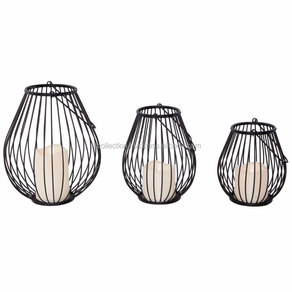 Black Wire Design Lanterns Candle Holder Hurricane Lantern - Buy ...