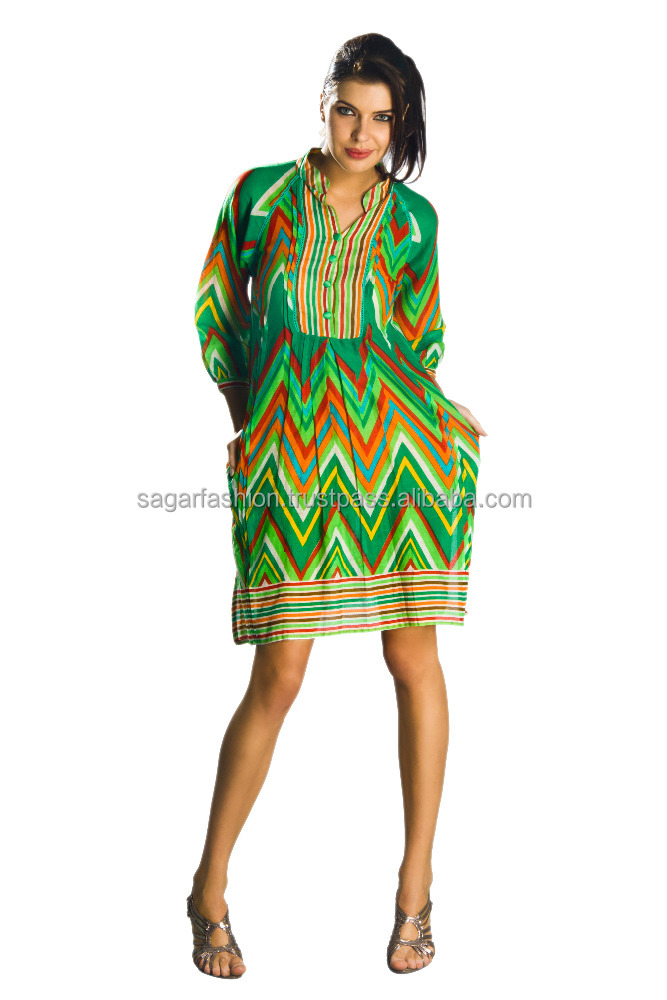 latest indian cotton fancy dress Zig-zag style Green color short tunic 2016 wholesale available in USA