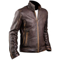 Mens Cafe Racer Stylish Brown Distressed Leather Jacket