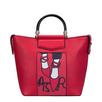 Женская оптовая продажа спереди Милая обувь Иллюстрация шаблон Дамы Tasmin  Структурированные сумка мешок 602699da9d1f9