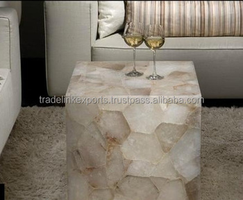 backlight crystal white quartz table top for coffee & wine purpose