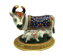 Exclusive Indian Metal Handicraft Hand Paint White Cow Symbol of Lord Krishna Home Decor Gift Item
