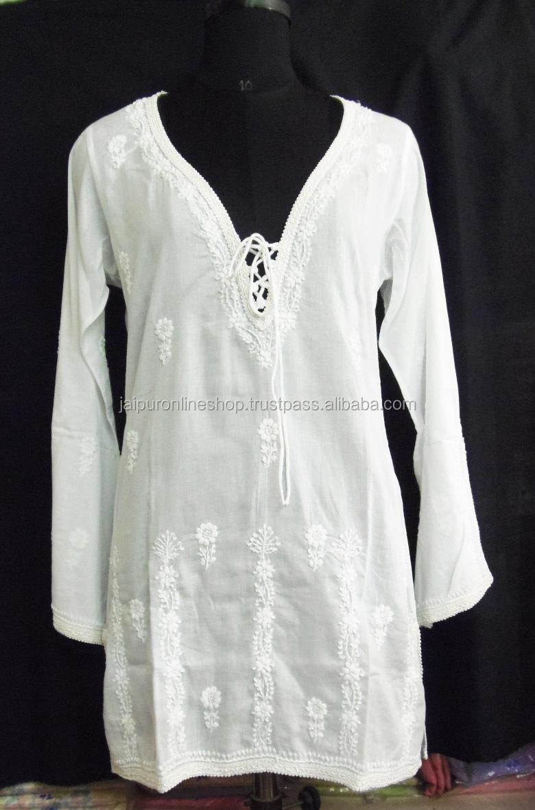 2014 New Arrived Women's Fashion Kurties /ladies Cotton White ...