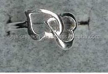 silver heart ring,heart imprint ring,sterling silver two heart rings