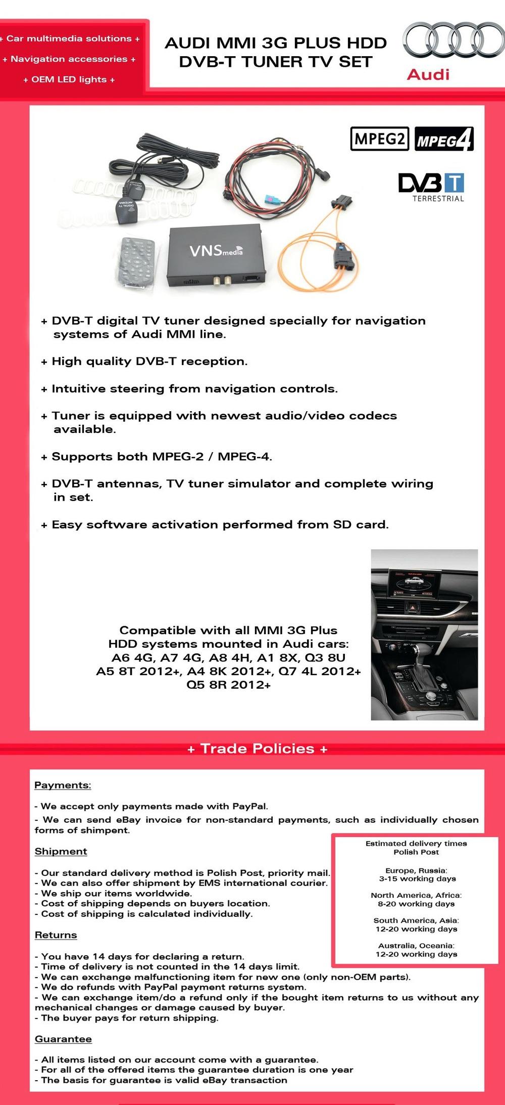 Mmi 3g Plus Dvb-t Digital Television Retrofit Set Tv Tuner Receiver - Buy  Dvbt3g+ Product on Alibaba com