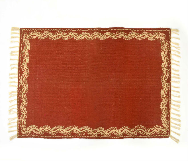 Natural Fibres Deep Red embroidered Rug