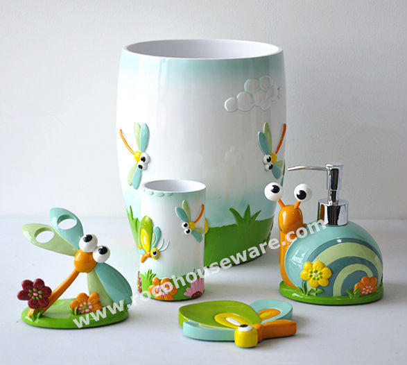 Dragonfly Bath Set For Kids Polyresin Bathroom Accessories(RY0505)