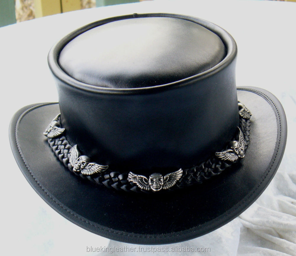 black leather steampunk    gothic mens coachman hat w  skull  u0026 wings badges