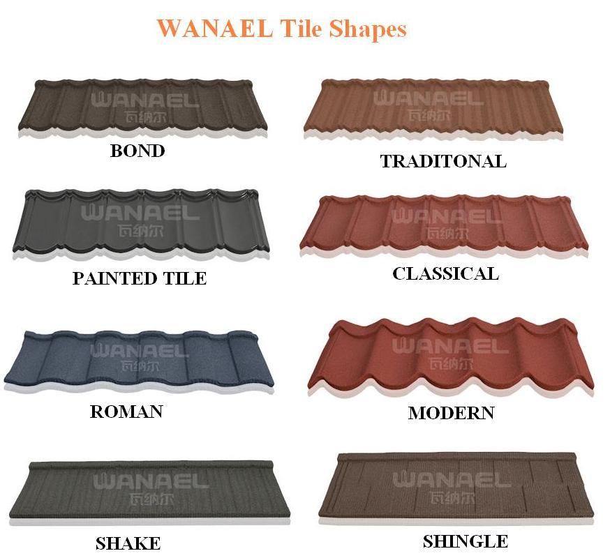 Traditional wanael stone coated metal roofing tile steel for Types of roof covering materials