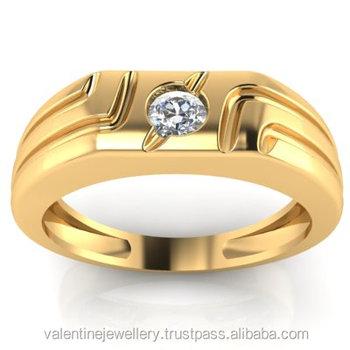 Single Diamond Pointer Men s 18k Yellow Gold Engagement Ring