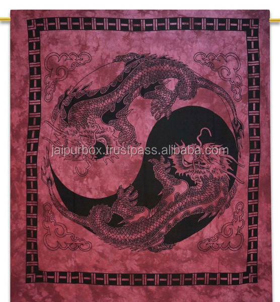 100% Cotton Magenta Ying Yang Dragon Mandala Tie Dyed Tapestry