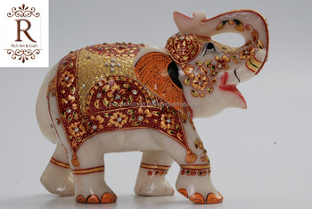 Marble Stone Elephant Handicraft Artisan Gift Rich Art And Craft