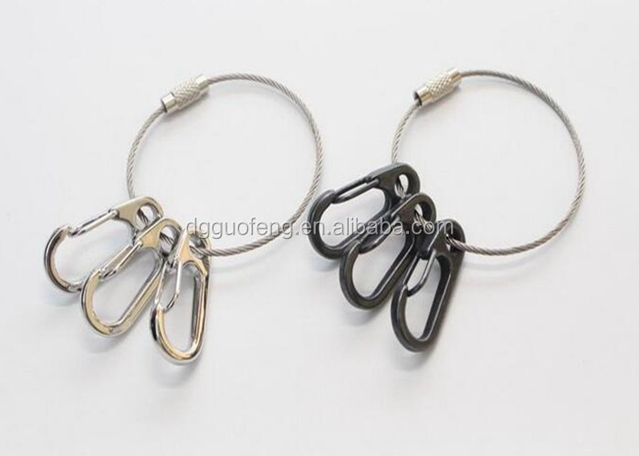 Retractable  Coiled Tool Lanyard With Two Zinc Alloy Hooks And  Key Ring