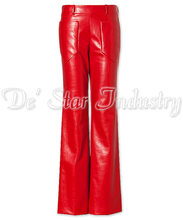 Red Soft sheep Leather Trousers for Women Vogue