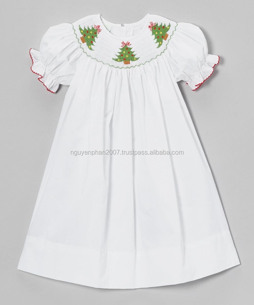 White Noel Trees Smocked Dresses For Christmas 2014 - Buy White ...