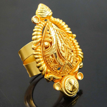 18k Gold Plated Adjustable Ring Ethnic India Design Bollywood