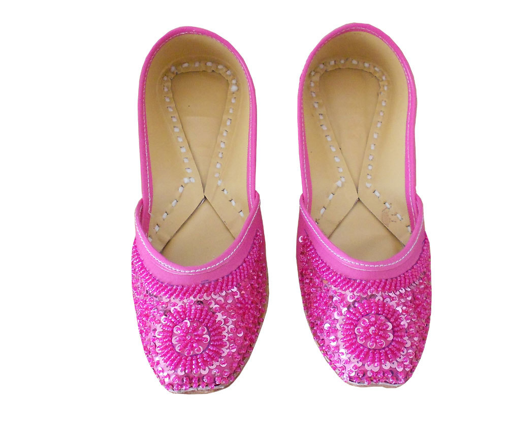 INDIAN HANDMADE LEATHER WOMEN SHOES MOJARI JOOTI JUTTI PUNJABI KHUSSA FLAT