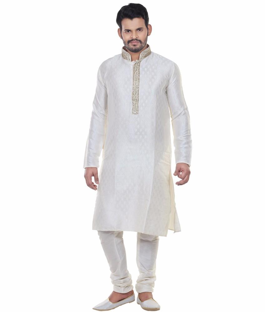 Men/'s pathani Kurta Pyjama ethnic costume en tissu de coton solide blanc traditionnel