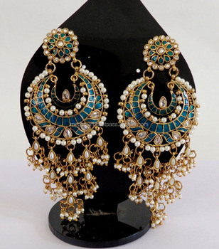 Pakistani bridal kundan earring punjabi chandelier earrings pakistani bridal kundan earring punjabi chandelier earrings wholesale indian ethnic big dangle earring mozeypictures Image collections
