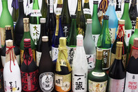 Bottled flavorful Japanese sake rice wine for liquor importers