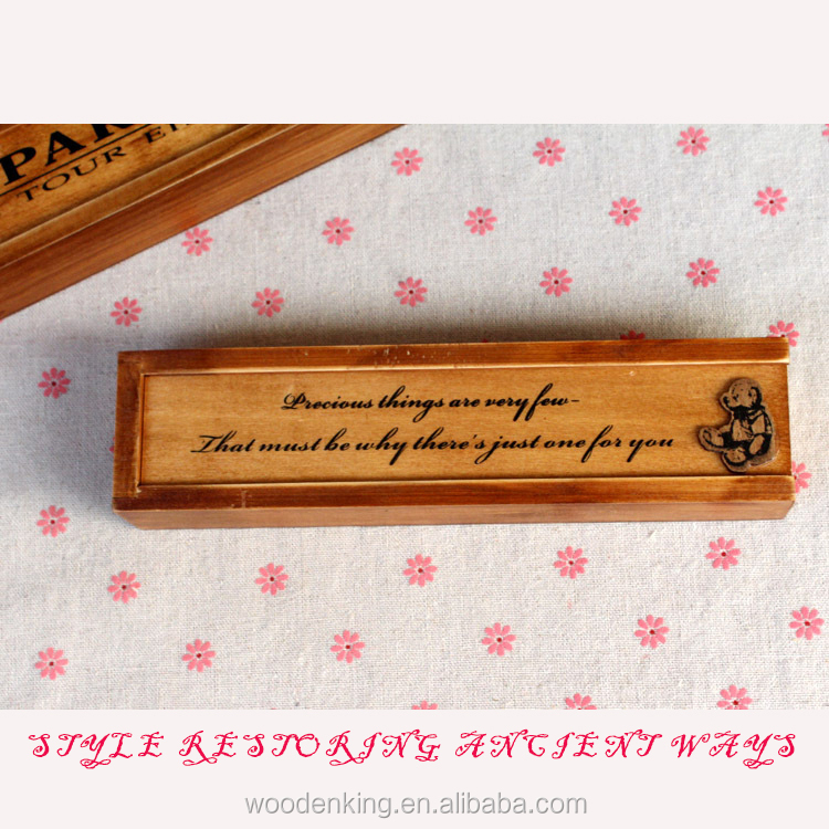 2017 Fashion Smoked Pull Type Restoring Ancient Ways Is The Stationery Box Custom Logo Wooden Cheap Pencil Case
