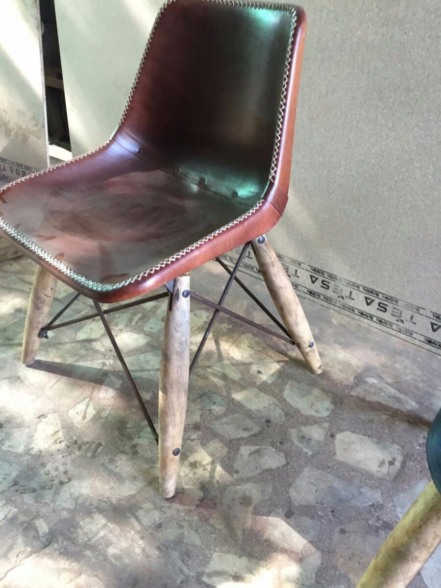 India Industrial Dining Chair , Leather Dining Chair, Restaurant Furniture