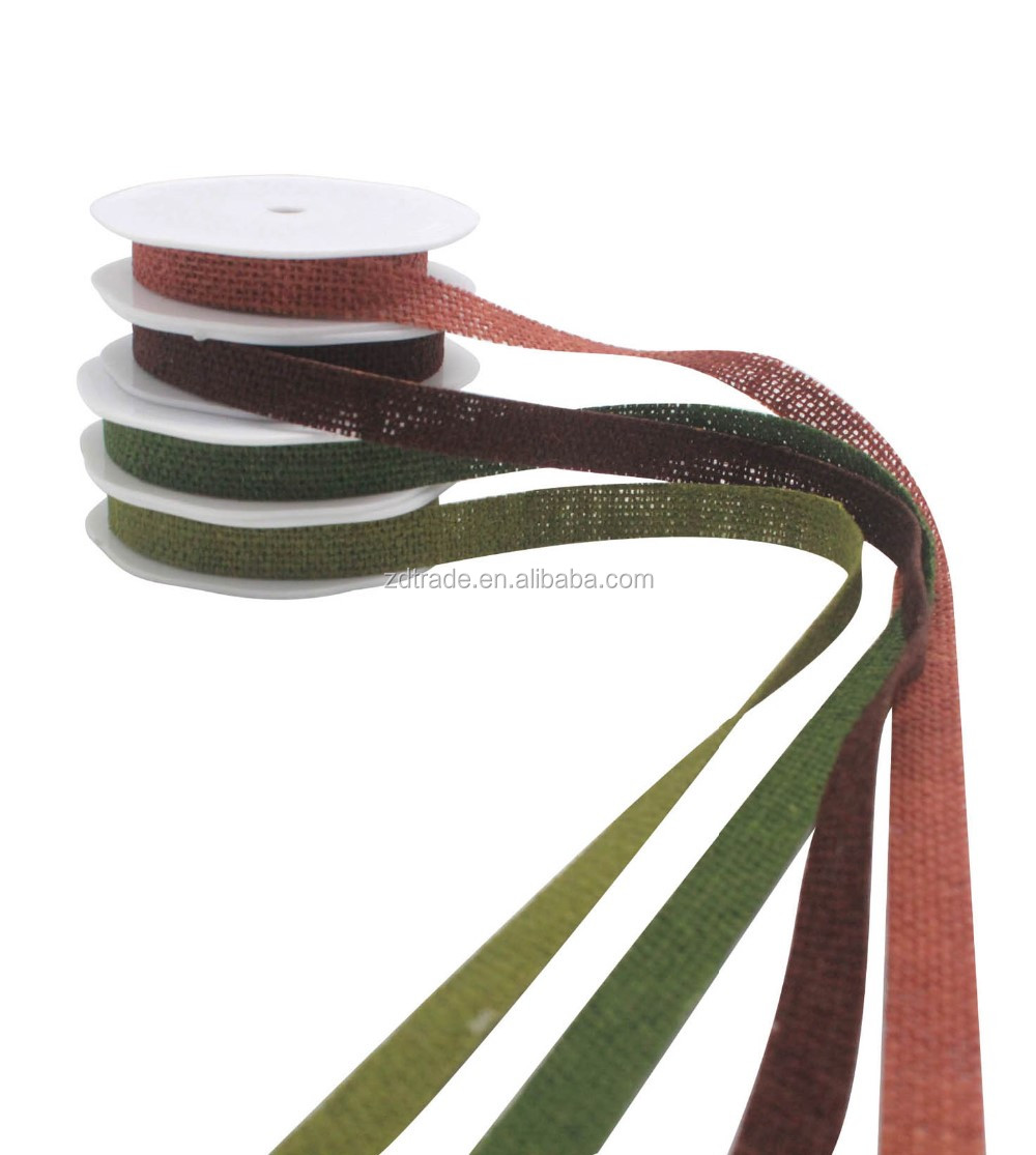 Burlap Ribbon with no sewing line various color perfect for wrapping gift box & Floral deco
