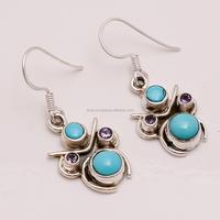 925 Silver Earrings, Amethyst Sleeping Beauty Turquoise Gemstone Jewelry, Wedding Jewelry